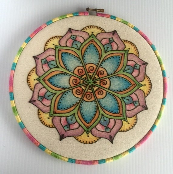 Colorful Mandala Hand Embroidered Hoop Art, Calming, Whimsical, Hand Embroidered