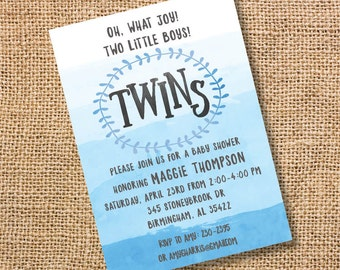 Blue Ombre Twins Baby Shower Invitation Twin Boys Watercolor Blue Twins Invite Printable Classic Twin Boys Blue Twins Invitation Nautical