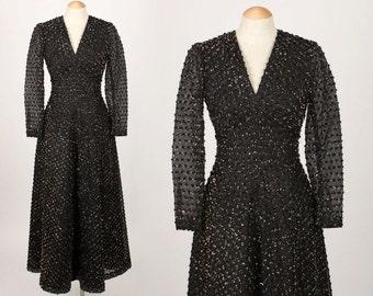 vintage 1970s gown • POM POM textured maxi dress