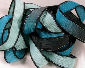 Hand Dyed Silk Ribbons - Wrist Wrap Yoga Bracelet Crinkle Silk Ribbon  - Calypso