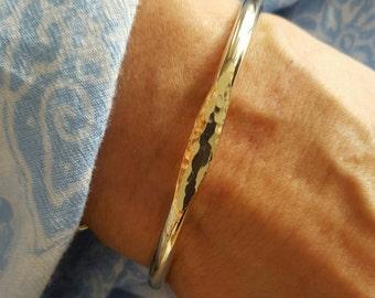 Signet Gold Cuff Bracelet, Open Bracelet, Stacking Bracelet. Cuff Bracelet, Unique Bracelet, Handmade Bracelets, Gift for Her, Modern Cuff