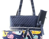 Navy Whale Diaper Bag Set Changing pad..Personalize it for FREE... at no charge.... WOW What a Deal