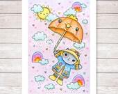Childrens Wall Art,Nursery Wall Art,Art Print for Kids,Kitty Print,Happy Rainbow Print,Wall Art for Baby,Pastel Wall Art, Pastel Baby Print
