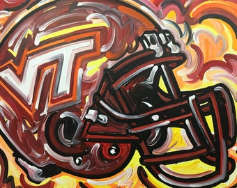 24x30 Officialy Licensed Virginia Tech Hokies Painting by Justin Patten Sports Art College Baseball Football Basketball