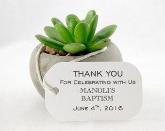 40 Thank You Gift Tags for Baptisms & Christenings favor gift tags- Sophisticated; Thank You for Celebrating with Us Customized with names