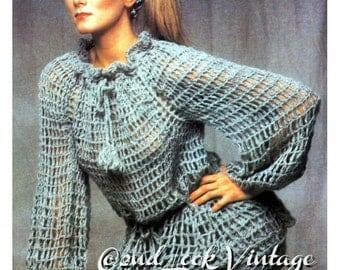 Vintage Crochet Pattern Lacy Mesh Tunic Gypsy Pants 1970s Digital Download PDF