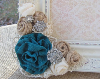 5x7 Turquoise and Burlap and Ivory Fabric Flowers, Wedding Picture Frame, Turquoise  Wedding Colors, Vintage Ivory Picture Frame