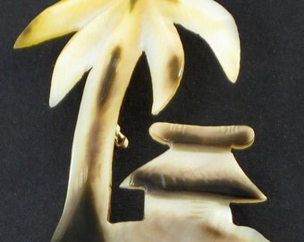 Vintage Hawaiian Palm Tree and Hut Brooch - pin, shell