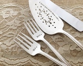 Personalized cake server, knife & forks vintage set... for your wedding, hand stamped, gracious