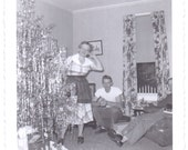 Vintage Photo - Lady and the Tinsel Tree - Ephemera, Vernacular, Found Photo, Black and White (C)