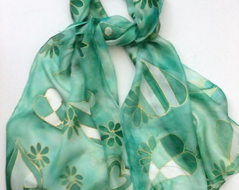 Hearts and Flowers Hand Painted Silk Scarf.  Green Hearts and Flowers Scarf.