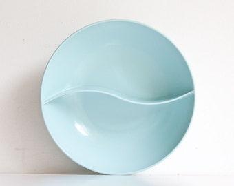 Vintage Mid Century Modern Aqua Melamine Divided Bowl