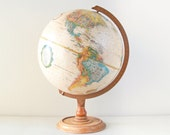 "Vintage Replogle 12"" World Classic Series Globe with Wood Stand / Made in USA / Item No. 1583"