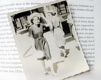 Vintage 1930s Photo/Woman in Hat on Street/ Dirty Look/ Evil Eye/Pretty Woman