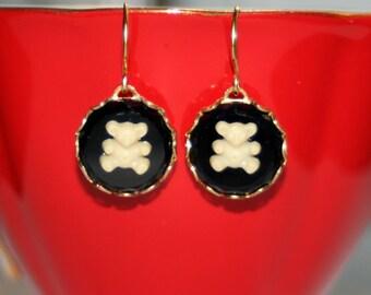 Vintage German black glass cream Teddy bear artisan rubydalmatian earrings