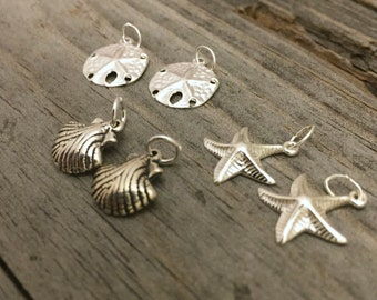 Sterling Silver Star Fish Charm Shell Charm Sand Dollar Charm Your Choice Jewelry Supply Jewelry Findings