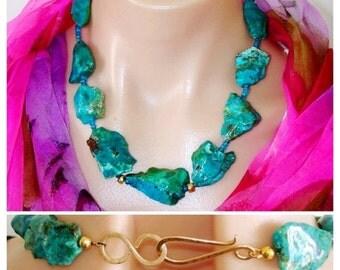 ASHIRA CLOSING SALE: Statement Necklace Ashira Stunning Natural Rare Parrot Blue Rough Chrysocolla Nuggets Apatite Handmade Hammered Gold Ho