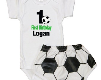 Personalized Baby Boys Soccer Theme 1ST Birthday Outfit