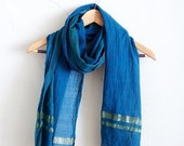 ON SALE Indigo + Gold Fair Trade Handwoven Cotton Scarf