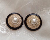 50% Vintage Pearl Art Deco Style Earrings Black Enamel Rhinestone Signed Roman