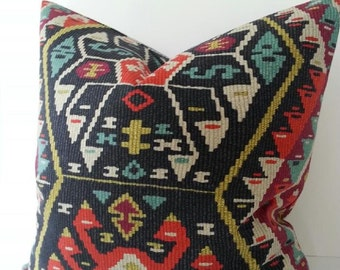 P Kaufmann Longrock Fiesta Pillow Cover / Kilim Pillow Cover / Southwest Pillow / Aztec Pillow / Blue / Red / Orange / Grey