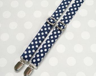 Polka Dot Suspenders for Boys - Boys Suspenders - Boys Accessories - Boys Outfits - Navy Suspenders - Navy Polka Dot Suspenders