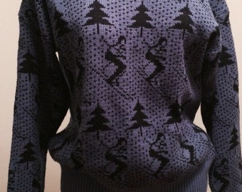 80s Blue Ski Sweater