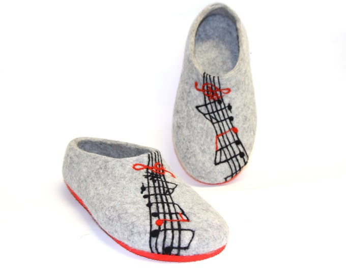 Music Teacher Gift Felt Shoes, Music Note Wool Slippers, Relaxation Gifts, Custom Music Gift, Luxury Gifts, Custom Colors Rubber Soles