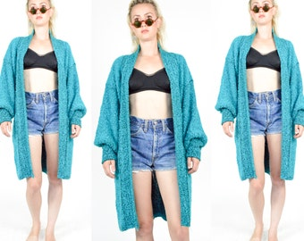 80's 90's TEAL BLUE Chunky Knit Duster Coat. Long Cardigan. Bishop Sleeves. Oversized Chunky Knit Jacket.