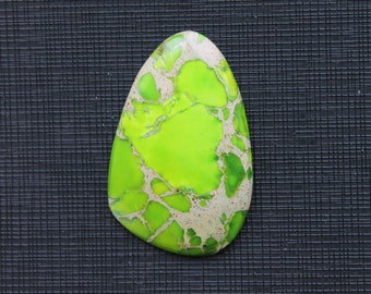 Yellow Green Variscite Sea Sediment Jasper Cabochon Pendant