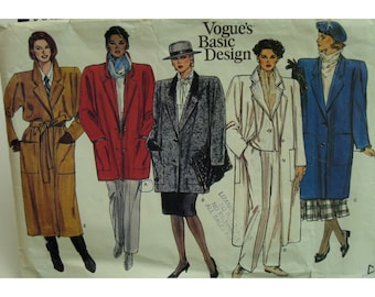 """Lined Coat Pattern, Notched Collar, A-line, Patch Pockets, Tie Belt, Loose Fitting, Vogue No.1446 Size 10 (Bust 32.5"""" 83cm) OR Size 14 16"""