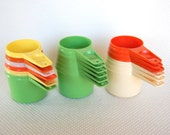 Choice of Vintage Tupperware Measuring Cups in Married Mod Colors Complete sets of 6