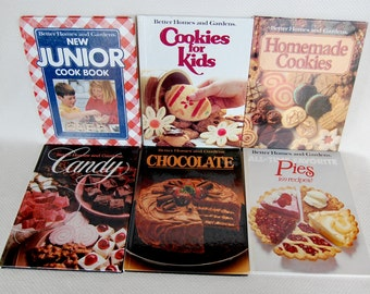 Six Vintage Better Homes and Gardens Cookbooks Kids, Candy, Chocolate, Cookies and Pies Homemade Goodies for Everyone  CB335