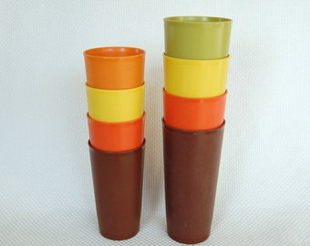 Set of 8 Vintage Tupperware tumblers 12 and 18 ounce Heavy Bottom style Mod Fall Colors