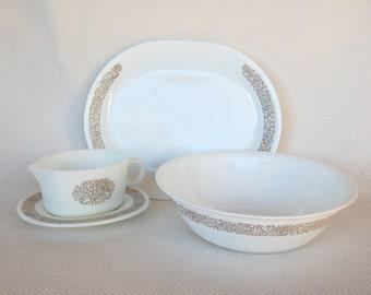 Vintage Corelle Woodland and Pyrex WOODLAND Serving Pieces: Corelle Platter, Corelle 2 Quart Bowl and Pyrex Gravy Boat & Underplate 4 Pieces