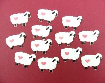 """12 Sheep Wood 1 1/8"""" W x 3/4"""" H x 1/16"""" Thick Hair Bow Idea"""