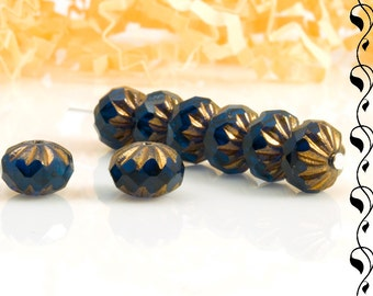 6 Cathedral Donuts 10x7 mm Dark Blue