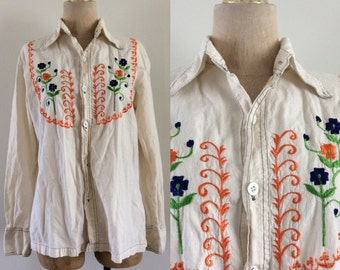 1970's White Indian Cotton Embroidered Button Up Top Vintage Blouse Size Medium Large by Maeberry Vintage