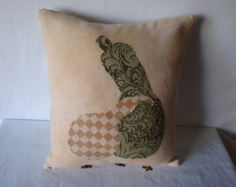Cross stitched linen pillow, gourd theme pillow, garden lovers, embellished pillow, shelf sitter pillow, kitchen decor, dining room decor