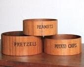 Vintage Graphic Wood Snack Bowls, Set of 3