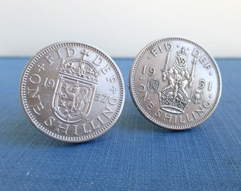 Scottish Arms & Crest Coin Cuff Links - UK Scotland One Shilling Repurposed Coins