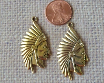 Indian Chief Head Pewter Charms Shiny Gold Perfect for Earrings (Two Pieces)