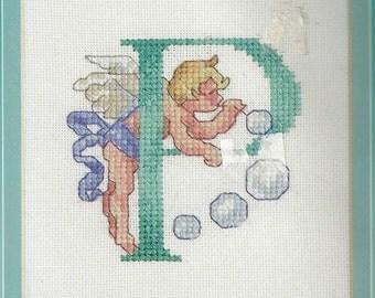Letter P CHERUB LETTERS Counted Cross Stitch Kit Brand New Sealed Janlynn Monogram Letter P