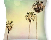 Throw Pillow Cover Palm Trees 2 Fine Art Photo Pillow Covers available Mint green pink yellow throw pastel circle modern