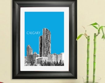 Calgary Skyline Poster #2 - Calgary Canada Skyline Art Print - 8 x 10 Choose Your Color
