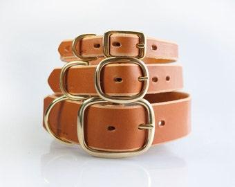 Dog Collar, Leather Dog Collar, Handmade Leather Dog Collar, Light Brown Leather Dog Collar, Classic Dog Collar
