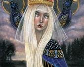 Verdandi Norse Norns Pagan harpy valkryie Original Soft Pastel painting