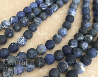 "6mm Matte Sodalite Smooth Round Gemstone Beads - 15.5"" strand - Frosted Blue - Earthy Rustic Boho Mala Healing Chakra - Central Coast Charms"