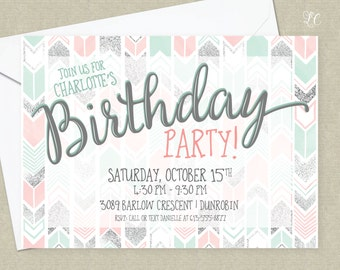Chevron Birthday Invitation -  Silver Mint Coral Invitation - Tween Party Invitations - Boho Chic Chevron Invitation - Shabby Chic Teen