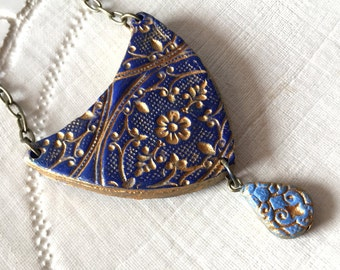 Big Pendant, Morocco Inspired Necklace, Gold Arabesque , Fall Colors - Long Necklace in Blue, or Burnt Orange with matching Earrings